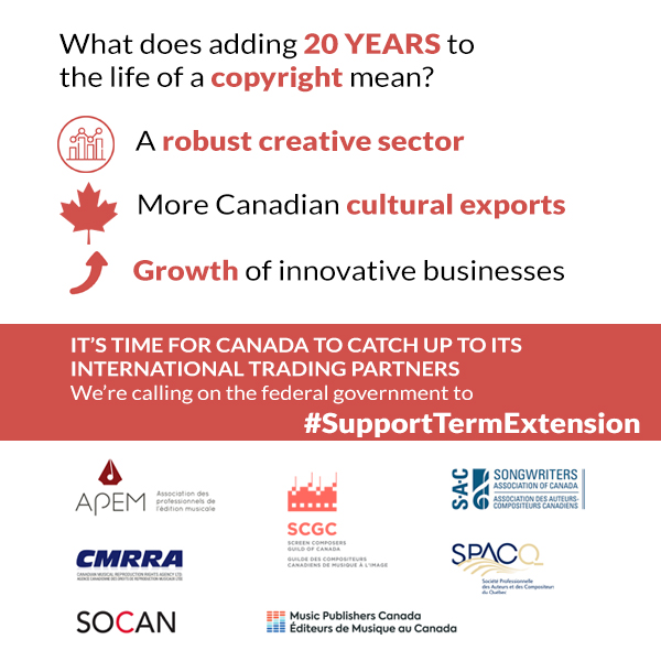 Canada's music publishing sector calls on Parliamentarians to implement copyright term extension under CUSMA ratification at House Industry and Trade committees